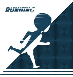 Silhouette athlete man running in competition vector