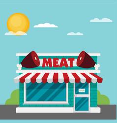 facade of meat shop flat vector image