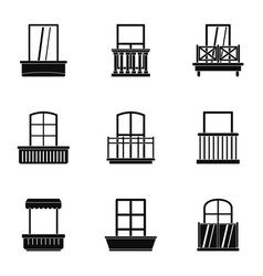 house balcony icon set simple style vector image