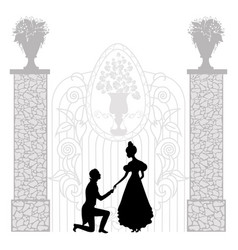 Young couple silhouette vector