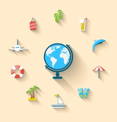 Flat set icons tourism objects and equipment with vector image