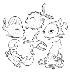 Funny sea animals in black and white vector