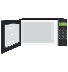 A microwave oven with open door vector