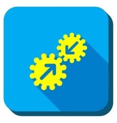 Gears Integration Longshadow Icon vector image