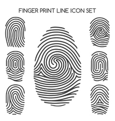 Fingerprint line icons vector