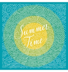 Summertime handwritten phrase on color background vector