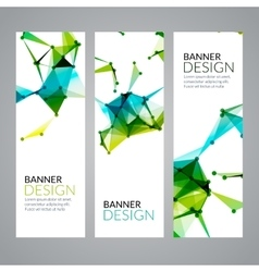 Set geometric polygonal banners technology vector