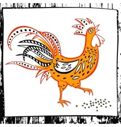 Hand drawn silhouette rooster eat vector