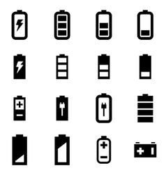 Black battery icon set vector