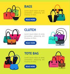 cartoon handbag or female bags banner horizontal vector image