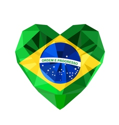 Crystal gem jewelry brazilian heart with the flag vector