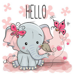 Cute cartoon elephant with bird vector