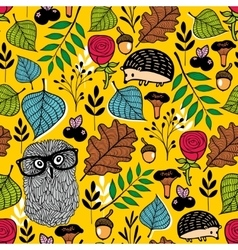 Endless pattern with forest flora and fauna vector