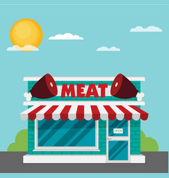facade of meat shop flat vector image