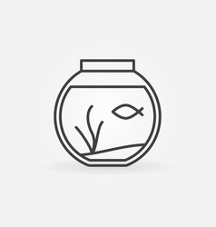 Fish bowl outline icon vector
