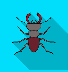 Forest red ant icon in flat style isolated on vector
