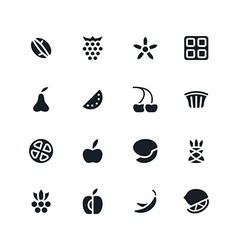 Fruit and desert icons in flat style vector