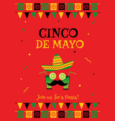 Funny face cinco de mayo red invitation poster vector