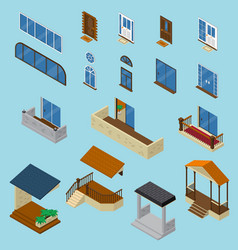 house isometric constructor set vector image