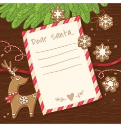 Letter to santa claus christmas card with vector