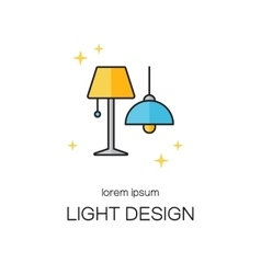 Lighting desigh line icon logo templates vector