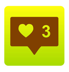Like and comment sign brown icon at green vector