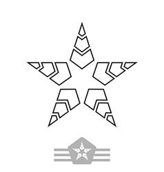 minimal black monochrome vintage star made of thin vector image vector image
