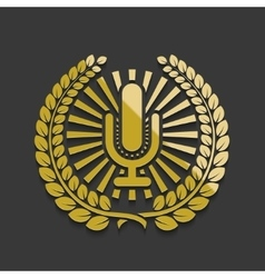 Modern golden microphone emblem vector