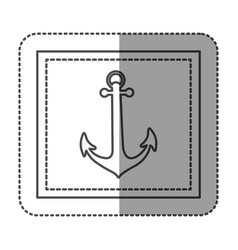Monochrome sticker frame with anchor vector