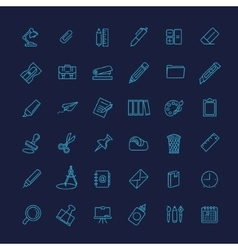 Outline web icon set - office stationery vector image vector image