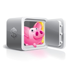 piggy bank in a safe vector image vector image