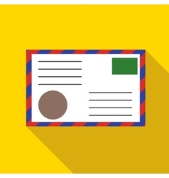 Postage envelope with stamps icon flat style vector image