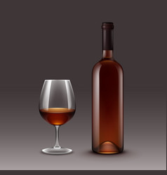 set of wine bottles and glasses vector image