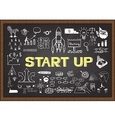 Start up on chalkboard vector image vector image