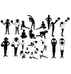 Toddler girl silhouettes sports postures vector