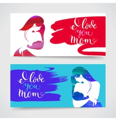 Set banners of mother silhouette with her baby vector