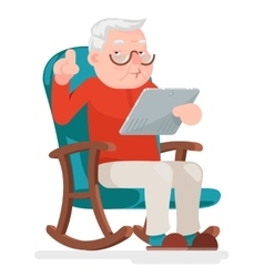 Web surfing online shopping old man character sit vector