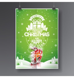 Merry christmas holiday and happy new year 2017 vector