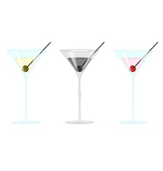 Martini glass with olives and cherry vector
