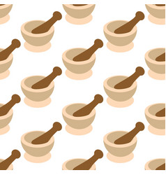Mortar and pestle for spices pattern vector