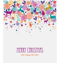 Merry christmas colorful greeting card vector