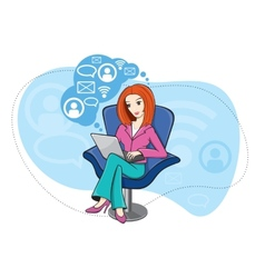 Woman sitting in chair working on notebook vector image