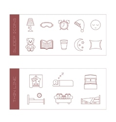 Set of isolated sleeping thin lined outlined icons vector