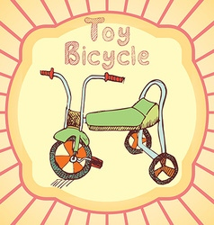 Cartoon toy bicycle colored hand drawn sketch vector