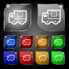 Delivery truck icon sign set of ten colorful vector