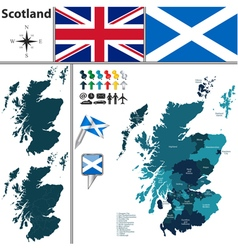 Scotland map with regions vector