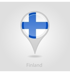 Finland flag pin map icon vector
