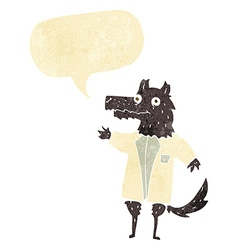 cartoon wolf businessman with speech bubble vector image