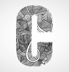 Letter c from doodle alphabet vector