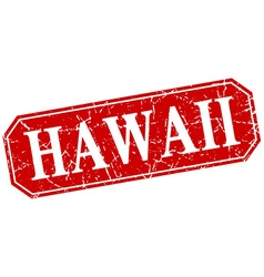 Hawaii red square grunge retro style sign vector image